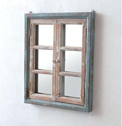 【送料無料】 ウォールミラー 木製シェルフ ディスプレイ アンティーク風 ナチュラルPetit monde ウィンドウミラーpo-40961