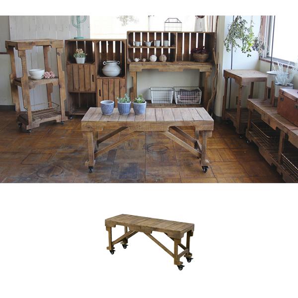 ブラウンウッド キャスター付 ローテーブル sp-mafh1020