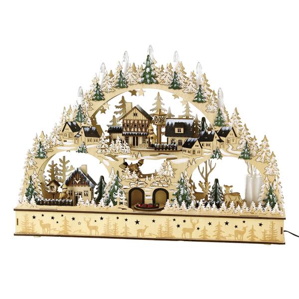 【1000円OFFクーポン配布中】クリスマス エルツLEDメロディウッドオブジェ フォレストタウン Lサイズ  sp-blxk3950