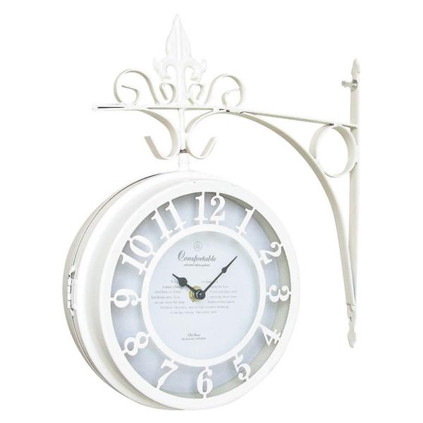 OLD STREET 壁掛け両面時計 ホワイト Lサイズ  sp-nhe801lwh