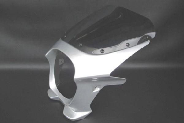 【W400 W600】 ビキニカウル 銀/シルバー 【エアロスクリーン】 180パイ 汎用