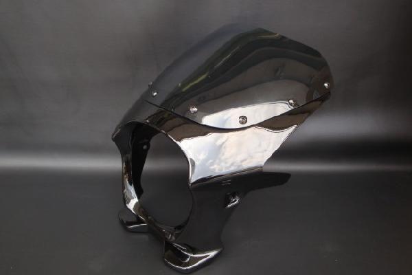 【RZ250 RZ350】 ビキニカウル 黒/ブラック 【スタンダードスクリーン】 180パイ 汎用