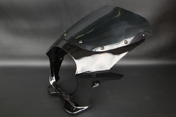 【XJR1300】 ビキニカウル 黒/ブラック 【エアロスクリーン】 180パイ 汎用