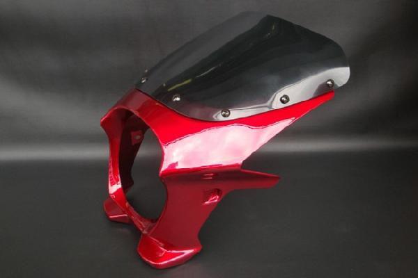 【RZ250 RZ350】 ビキニカウル 赤/レッド 【エアロスクリーン】 180パイ 汎用