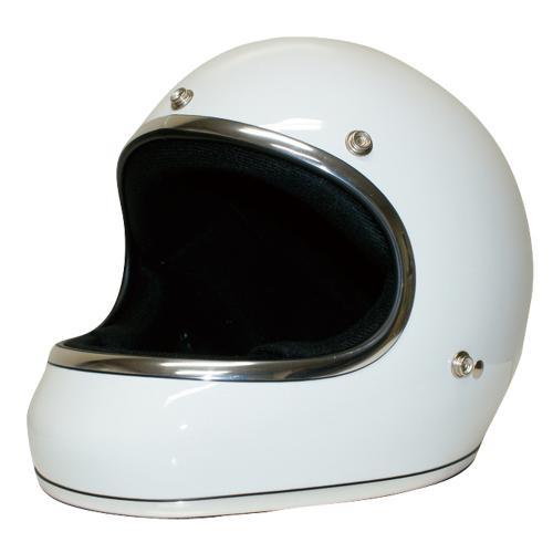 送料無料 レトロ フルフェイス ヘルメット【DAMMTRAX[ダムトラックス]】 アキラ ホワイト 白 メンズ Mサイズ(57cm~58cm) バイク用 ヘルメット