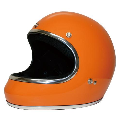 送料無料 レトロ フルフェイス ヘルメット【DAMMTRAX[ダムトラックス]】 アキラ オレンジ メンズ Mサイズ(57cm~58cm) バイク用 ヘルメット