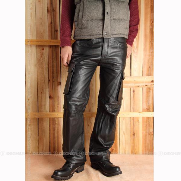 【送料無料】【DEGNER[デグナー]】 レザー カーゴ パンツ DP-17A XLサイズ