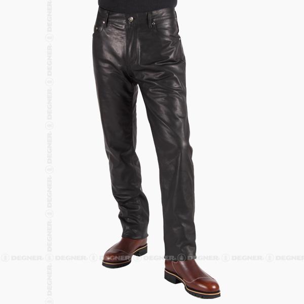【送料無料】【DEGNER[デグナー]】 スリム フィット レザー パンツ DP-18A Sサイズ キャッシュレス5%還元