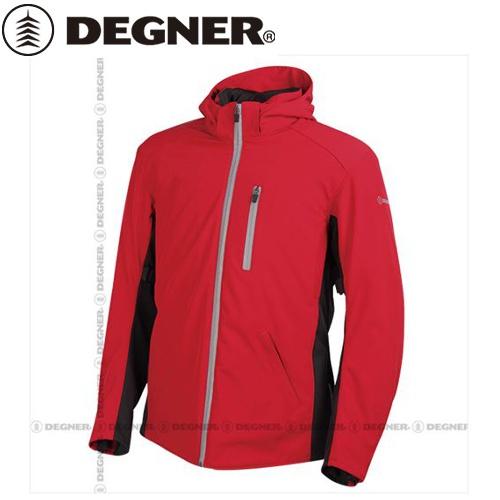 【送料無料】【DEGNER】 デグナー 17WJ-11 フード付 ソフトシェルジャケット レッド サイズS