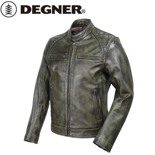 送料無料 【DEGNER】 デグナー 18SJ-6 ゴートレザージャケット グリーン サイズXL