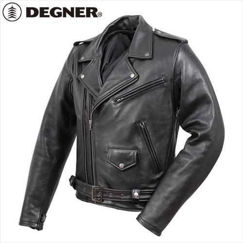【送料無料】 【DEGNER】 デグナー 19WJ-15 カウレザーダブルジャケット ブラック サイズ2XL