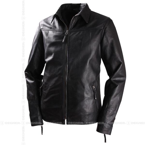 【送料無料】【DEGNER[デグナー]】 レザー シャツ ジャケット HSJ-8DAD ブラック/XLサイズ