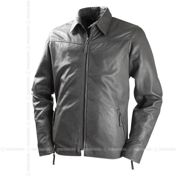 【送料無料】【DEGNER[デグナー]】 レザー シャツ ジャケット HSJ-8DAD ダークグレイ/Mサイズ