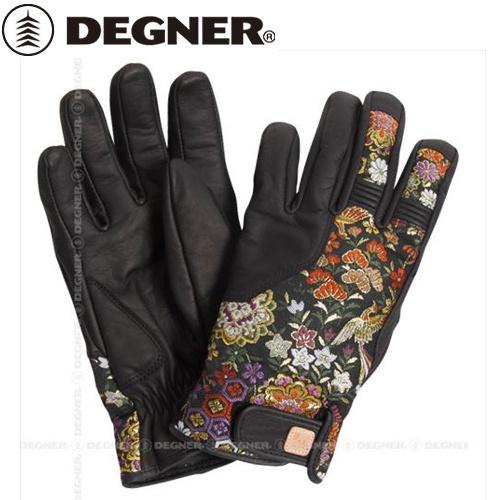 【DEGNER】 デグナー TG-25K 花山ツーリンググローブ 花宝 ブラック サイズXL