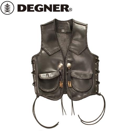 【送料無料】 【DEGNER】 デグナー V-12 レザーワークベスト ブラック サイズXL