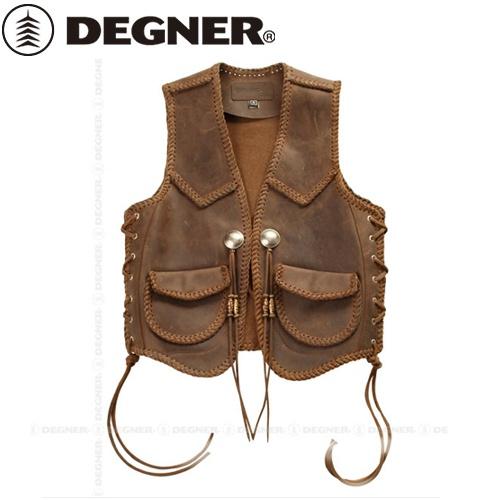 【送料無料】 【DEGNER】 デグナー V-12 レザーワークベスト ダークブラウン サイズXL