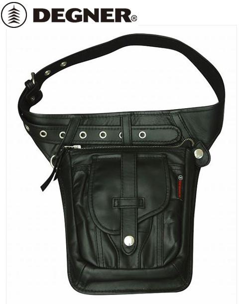 【送料無料】【DEGNER】 デグナー W-27 レザーヒップバッグ ブラック