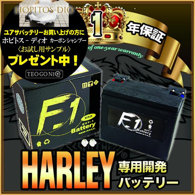 【1年保証付き】 F1 バッテリー 【FLSTF1450cc ファットボーイ/00~06用】バッテリー[65989-90B] 互換 ハーレー用 MFバッテリー 【HVT-1】 キャッシュレス5%還元【スーパーセール 開催】