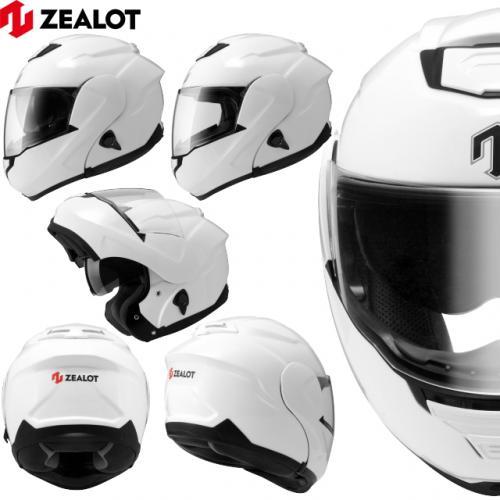 ヘルメット サイズL フリップアップ システムヘルメット ZEALOT ジーロット ゼロット ZG SysytemTourer システムツアラー SOLID WHITE ホワイト フルフェイスヘルメット インナーシールド付き ゴッドブリンク 送料無料 キャッシュレス5%還元