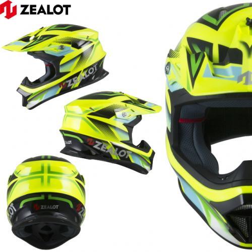 オフロードヘルメット サイズL ZEALOT ジーロット ゼロット Mad Jumper/マッドジャンパー ヘルメット YELLOW/BLK-GREEN イエロー ブラック グリーン 軽量ヘルメット ゴッドブリンク 送料無料 キャッシュレス5%還元