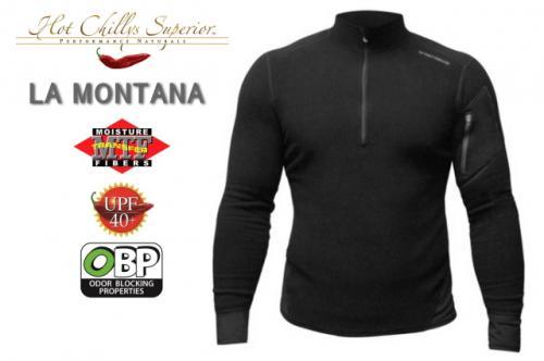 【セール特価】【HOT CHILLYS】 ラ モンタナ 極寒地仕様のベースレイヤー ジップアップシャツ メンズ ブラック HC4033[ホットチリーズ] キャッシュレス5%還元