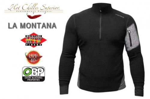 【セール特価】【HOT CHILLYS】 ラ モンタナ 極寒地仕様のベースレイヤー ジップアップシャツ メンズ ブラック/グラニット HC4033[ホットチリーズ]