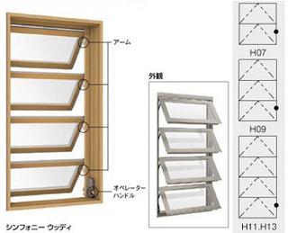 断熱サッシ シンフォニーウッディ オーニング窓 呼称06913【LIXIL】【リクシル】【トステム】【マド】【ガラス窓】【装飾窓】【ペアガラス】
