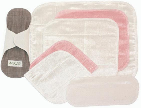 売り込み シルク ☆最安値に挑戦 布ナプキン 5枚とネルパッド2枚 アンダーホルダー 写真は柿渋 本藍と選べます 草木染シルク 1枚の計8組みのお試しスタートセットです と の布ナプキンスタートセットNo.2 未さらしネル