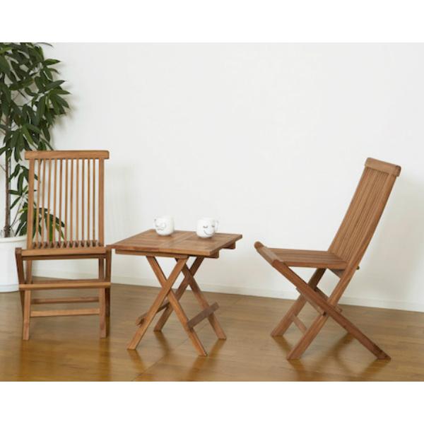 家具 庭 チークテーブル チークチェア 2脚組セット折りたたみ式木製 天然木