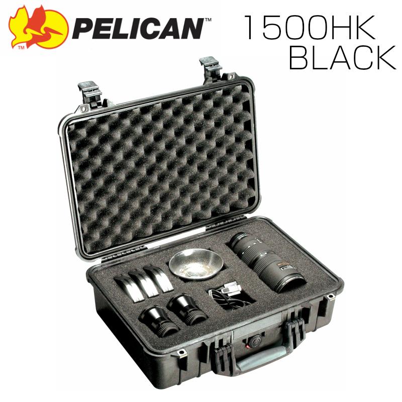 PELICAN ペリカン 1500HK ブラック 業務用 中型カメラケース ブロックウレタン付き FAA機内持込サイズ プロテクトケース