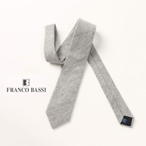 FRANCO BASSI / フランコバッシ ネクタイ カシミア100% ライトグレーメランジ u16i-m03-1