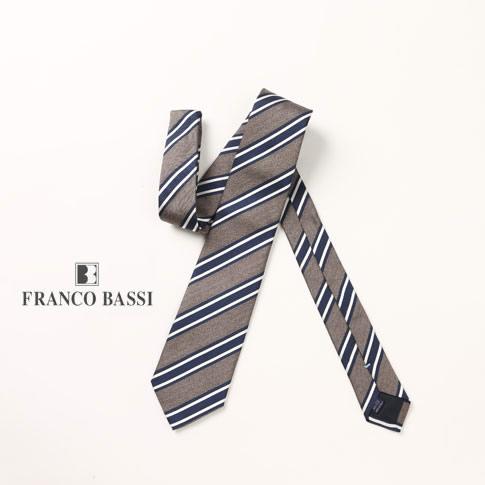 FRANCO BASSI / フランコバッシ ネクタイ シルク100%ジャガード ストライプ グレーベージュ ネイビー u16i-g17-3