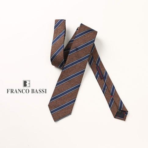 FRANCO BASSI / フランコバッシ ネクタイ シルク100%ジャガード ストライプ ブラウン ネイビー u16i-c22-h-8