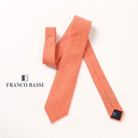 FRANCO BASSI / フランコバッシ ネクタイ カシミア100% パステルオレンジ u16i-m03-8