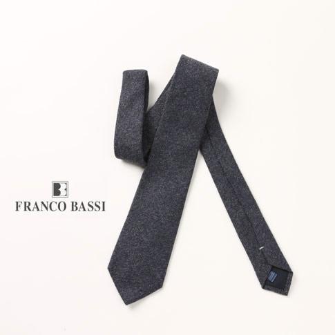 FRANCO BASSI / フランコバッシ ネクタイ カシミア100% ネイビーメランジ u16i-m03-12