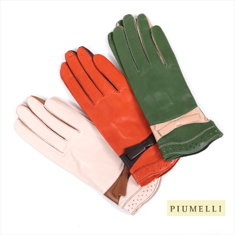 New PIUMELLI / pumellinappe x silk liner gloves MADE IN ITALY all colors P08Apr16