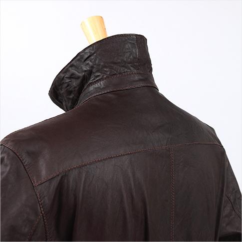 특별 한 가죽 재킷이 피렌체 도착! Garrett < ガレット > ウォシュド 가공 레더 블루 존 モテピタモデル 브라운 50 P08Apr16