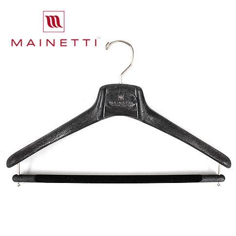 【10本セット】【国内正規品】MAINETTI マイネッティ イタリア製 木製ハンガーを超えるサルトリアーレハンガー シリコンラバーつき【ブラック】40cm 43cm