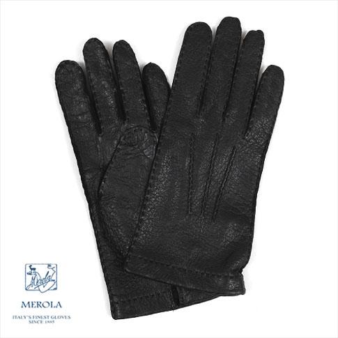 【全品ポイント還元中】【メローラ 手袋】<正規別注品>限定ソフトペッカリーグローブ<MEROLA GLOVES>メローラグローブハンドメイド手袋NEROブラック ME629005-99