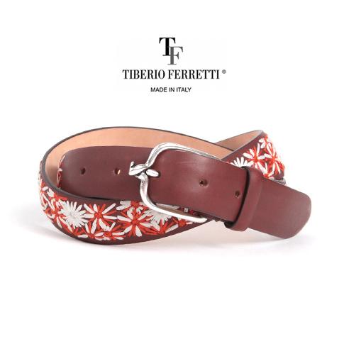 TIBERIO FERRETTI / ティベリオフェレッティ カーフレザーベルト (9363)30mm 刺繍(花火)入り ブラウン トルネードバックル