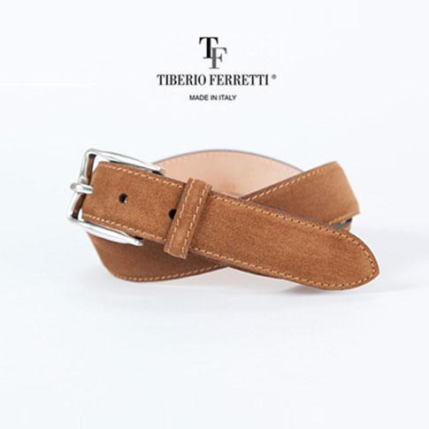 TIBERIO FERRETTI / ティベリオフェレッティ スエード ベルト カジュアル&ドレスベルト 上質レザー(1120) 30mm ハンドメイド仕上げ キャメルブラウン(80cm~100cmまでサイズ対応)1120-camel377