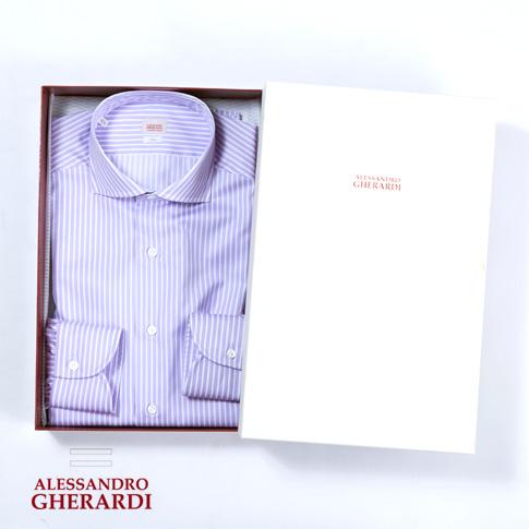 ALESSANDRO GHERARDI / アレッサンドロ ゲラルディ / カッタウェイ SLIM FIT ハンドメイド ドレスシャツ 極細番手200双 ストライプシャツ パープルxホワイト(ロンドンストライプ)5315-419