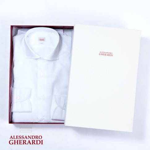 【在庫一点セール】ALESSANDRO GHERARDI / アレッサンドロ ゲラルディ / カッタウェイ SLIM FIT ハンドメイド ドレスシャツ 細番手 ブロード織り ホワイトシャツ 5328-000