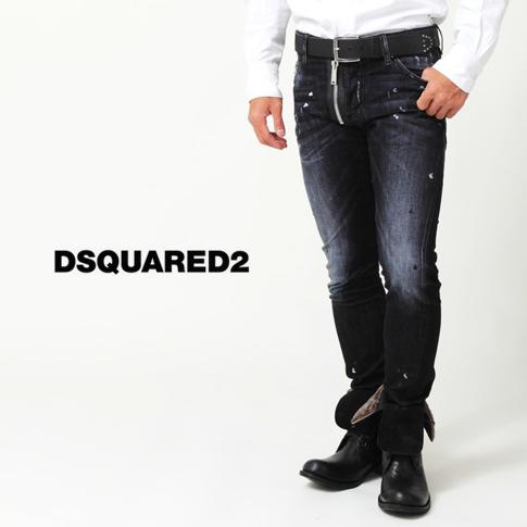 디 스퀘어 드/DSQUARED2-디 스퀘어 드 청바지/M.B. JEAN/입체 데님 실버 페인트 리페어 프런트 보이고 지퍼 디자인 블랙 데님 스트레치 청바지 S74LA0806 P08Apr16