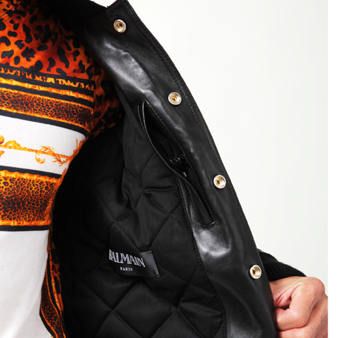 BALMAIN バルマン 벨벳 x 가죽 폭격기 재킷 테 디 재킷 BLOUSON TEDDY HOMME MEN 'S LEATHER JACKET W5HC842C462 176 NOIR/BLACK