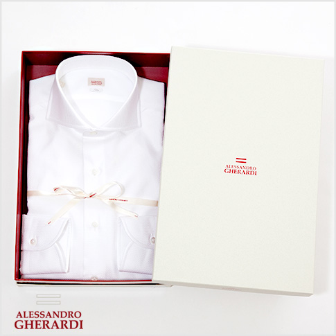 【2020半期決算セール】【在庫一点セール】ALESSANDRO GHERARDI / アレッサンドロ ゲラルディ / ホワイトシャツ (バスケット織り) カッタウェイ SLIM FIT ハンドメイド ドレスシャツ ホリゾンタルワイド 白シャツ 5209-000