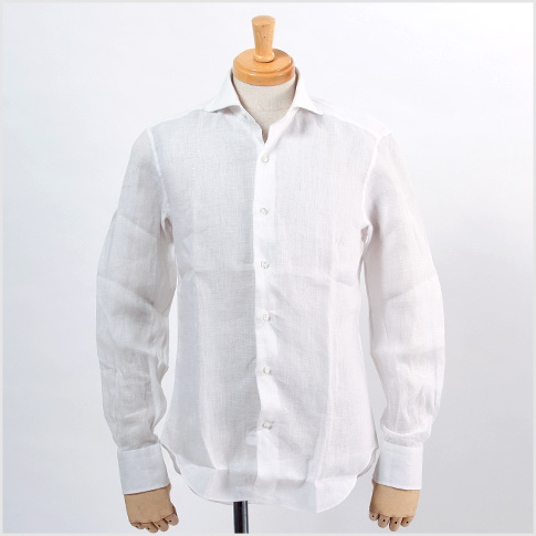 ALESSANDRO GHERARDI and Alessandro gherardi and white linen (linen) cutaway SLIM FIT handmade dandy shirt horizontal wide white shirt 5286-000 P08Apr16