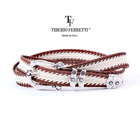 TIBERIO FERRETTI/ティベリオフェレッティ ベルト レザーコットン メッシュベルト 9018ブラウンxアイボリー