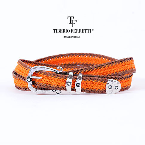TIBERIO FERRETTI/ティベリオフェレッティ ベルト レザーコットン メッシュベルト 9018 ブラウンxオレンジ