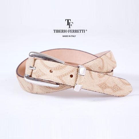 【在庫一点セール】TIBERIO FERRETTI/ティベリオフェレッティ ベルト (9800)25mm スエード リザード型押し アイボリー 9800-ivory